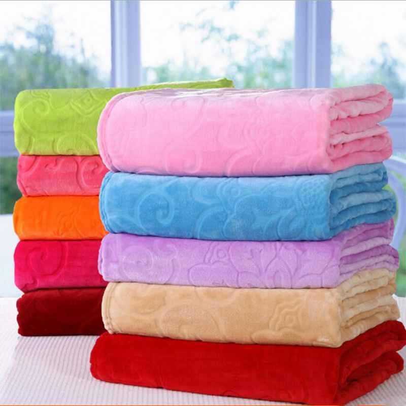 Soft Warm Embossed Coral Fleece Blanket on Bed/Sofa/Plane/Travel Solid Color Throw Blankets Baby Blanket bed sheet TV blanket