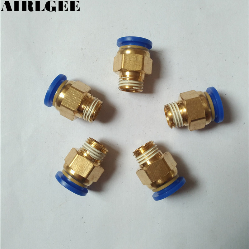 Air Compressor 1/4PT Male Thread to 10mm Tube Dia Quick Release Fitting 5 PCS Free shipping 10 pcs 3 8 pt thread 8mm hole dia t joint pneumatic quick couplers free shipping