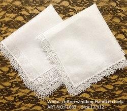 Fashion Women Handkerchiefs 12PCS/Lot 12x12Scalloped Lace Wedding Handkerchiefs Hiht Quality Embroidered Hankies For Ladies