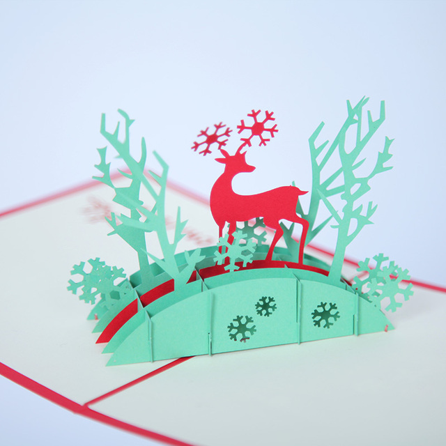 Merry christmas 3d pop up greeting cards with envelope and note merry christmas 3d pop up greeting cards with envelope and note board postcards snow deer m4hsunfo