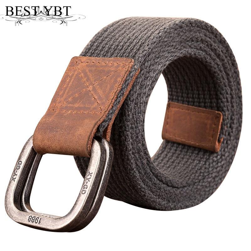 Best YBT Unisex Belt Retro Washed Canvas Alloy Double Ring Buckle Men Belt Casual Trend Men And Women Sport Belt 120-150cm