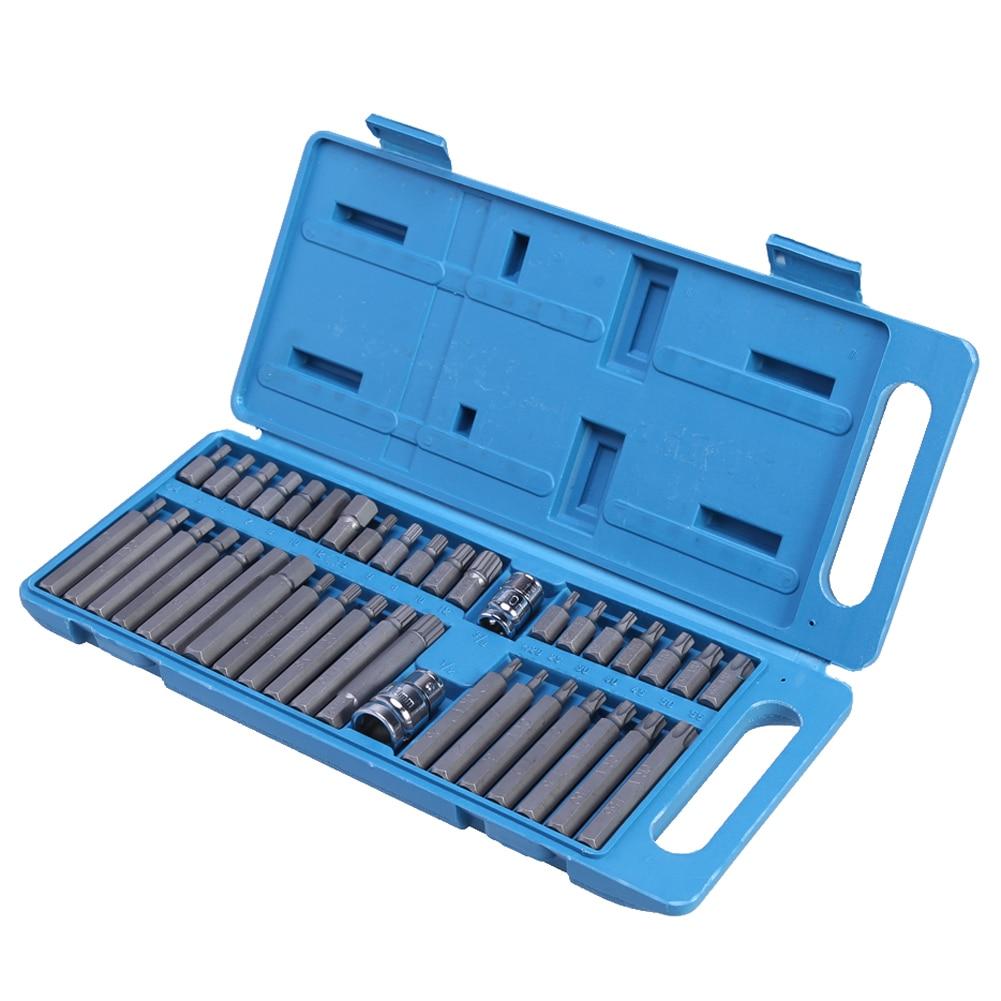 40Pcs/set Torx Hex Star Spline Socket Bit Drive Set Garage Tools Equipment Screwdriver Set Tool for Car Auto Repair