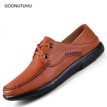 Mens shoes genuine leather breathable comfortable black brown fashion shoe man young four season driving platform for men