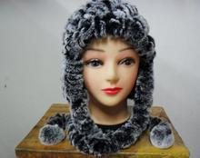 Бесплатная доставка Теплый меховая шапка меховая шапка кролика наушники шляпа кролика волосы женщины оптом и в розницу 100% натуральный мех