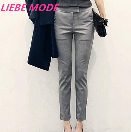 2018 Womens Black Grey Formal Trousers For Women Mid Waist Pants Skinny Dress Pant Trouser Office Work Casual Woman Calca In Capris From
