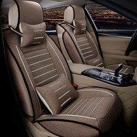 מושב מושב מכסה מכונית פשתן מוקף מלא עבור טויוטה פולקסווגן סוזוקי קאיה מאזדה מיצובישי ניסן אאודי כרית מושב רכב סטיילינג