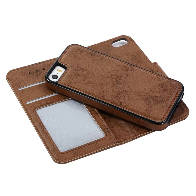 new product d683b 6e6e7 US $7.47 12% OFF Luxury Slim Hybrid 2 in 1 Vertical Flip Card Holder  Leather SE Retro wallet Cover Case For iPhone SE 5S 5 case-in Flip Cases  from ...