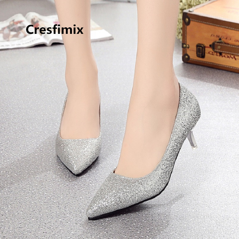 Cresfimix Lady Cute Silver Shining Comfortable Spike High