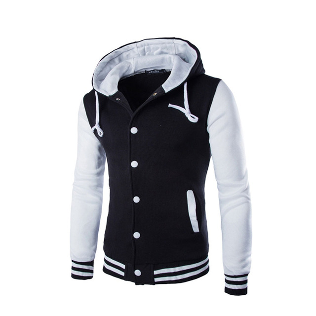 New arrival fashion slim Men's Splicing Hoodies with Long Sleeve Button Hooded Jackets 8 Colors