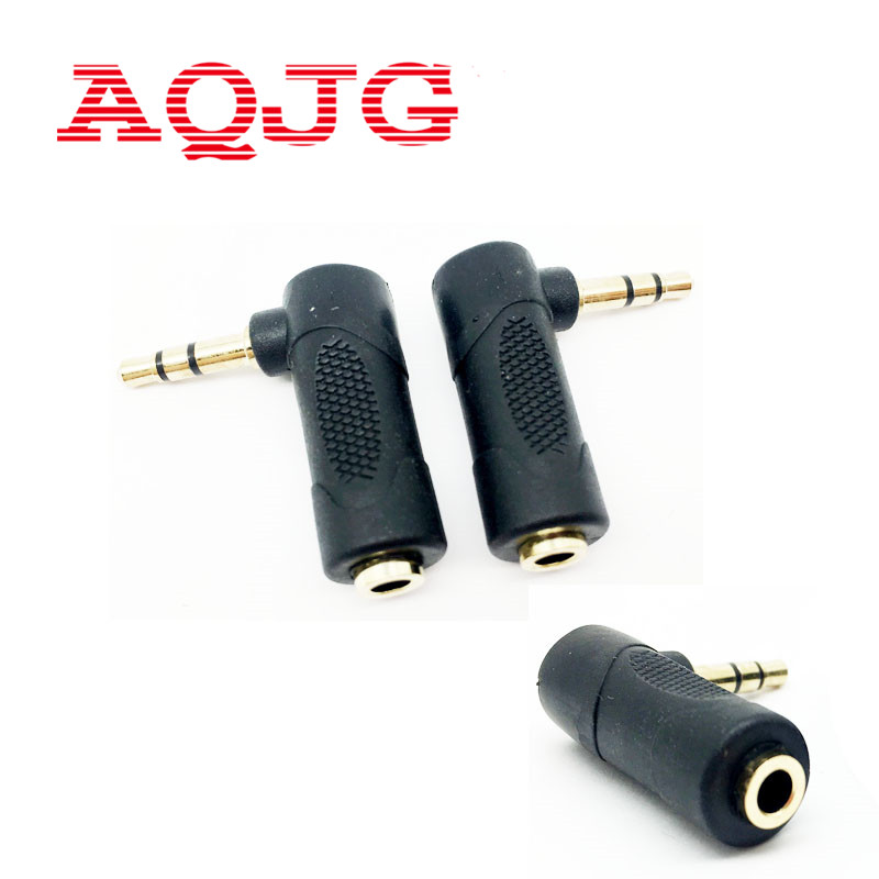 3.5mm 90 Degree 3 Pole Right Angle Female To Male Audio Stereo Plug L Shape AUX Headphone Jack Adapter Converter AQJG gold plated 2 5mm 4 pole 90 degree male plug diy headphone adapter l shape audio connector solder for 6mm tail hole 2pcs
