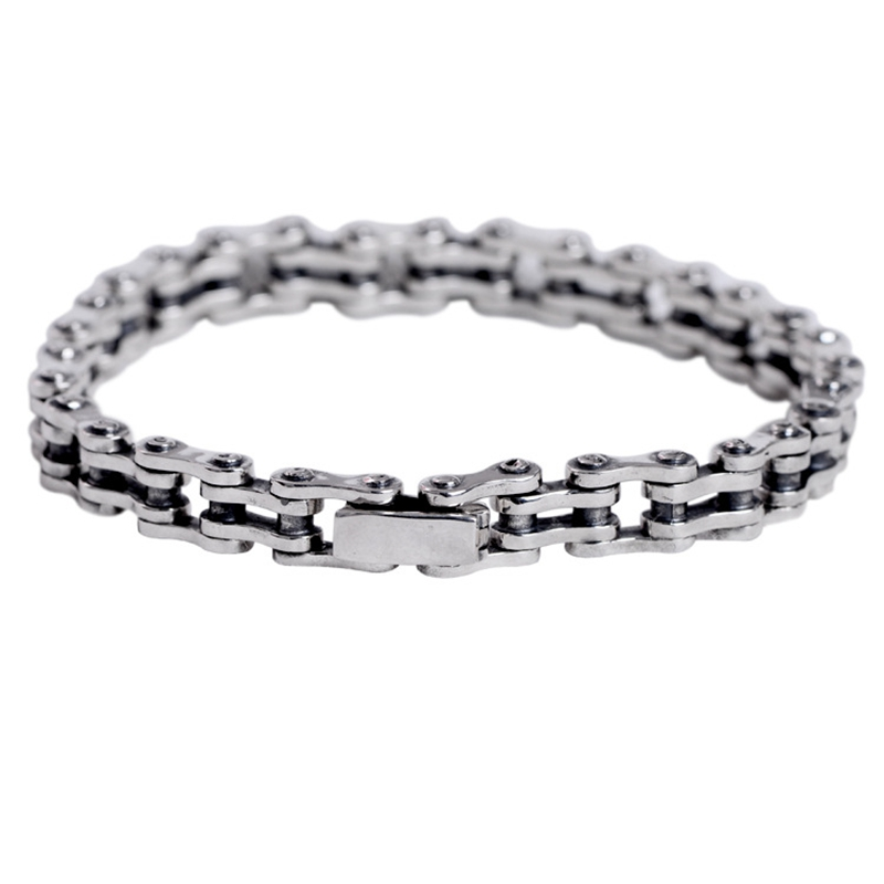 100% 925 sterling silver bike chain bracelets bangles silver handmade Locomotive men domineering bracelets for men fine jewelry 1 pcs women lucky red string bracelets men jewelry 100% handmade bangles boho style girls gift