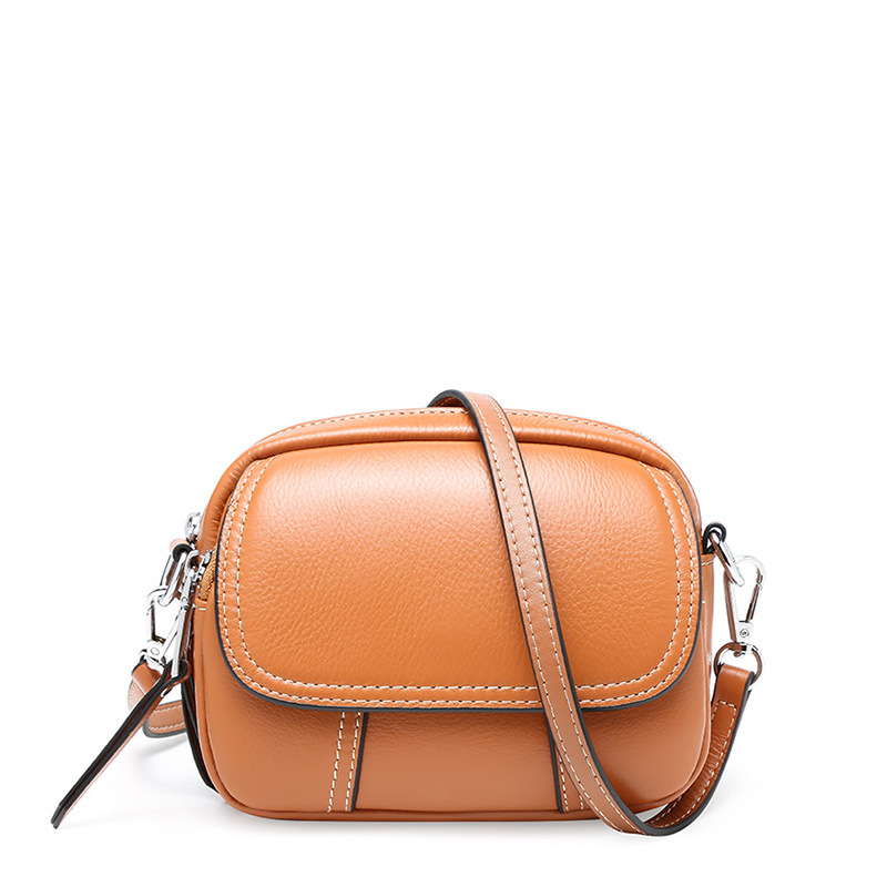 New Arrival Fashion Sweet Style Small Crossbody Bag Genuine Leather Messenger Bag Zipper Cover Shoulder Bag