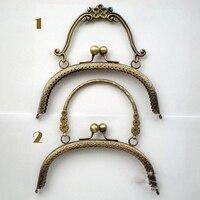 Women Purse Metal Clasp Handle DIY Bag Accessories 20cm Vintage Bronze Color Mouth Golden 3pcs Lot