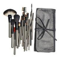 Professional 26pcs Animal Hair Makeup Brushes Set Cosmetic Foundation Powder Eyeliner Eyebrow Brush Tools with Leather Case