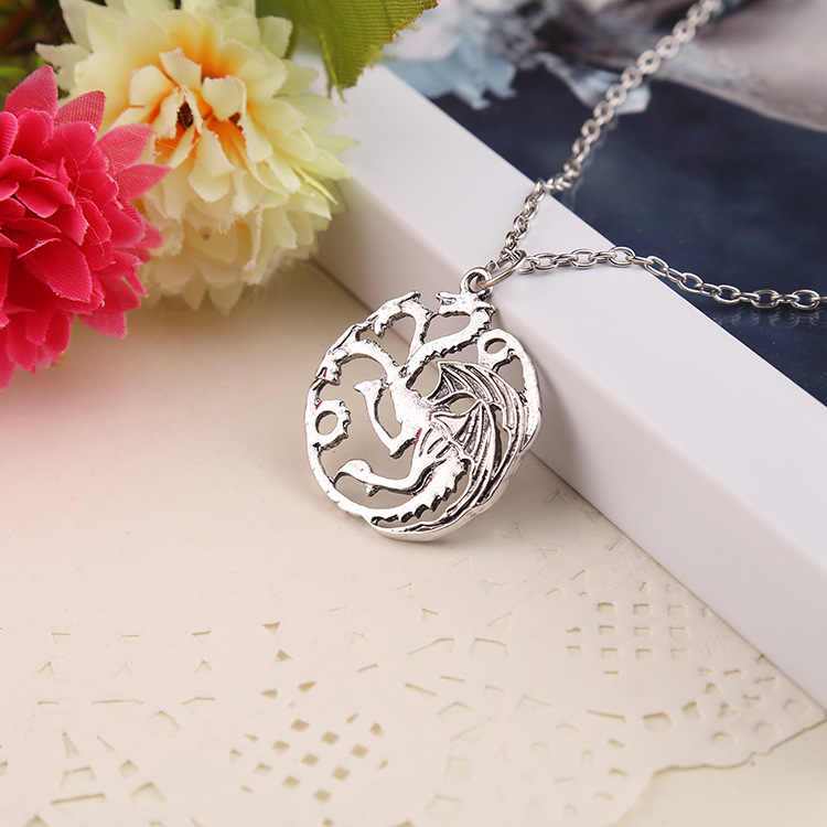 Vintage Ice And Fire Game Of Thrones Daenerys Targaryen Dragon Necklace Badge Link Chain Necklace