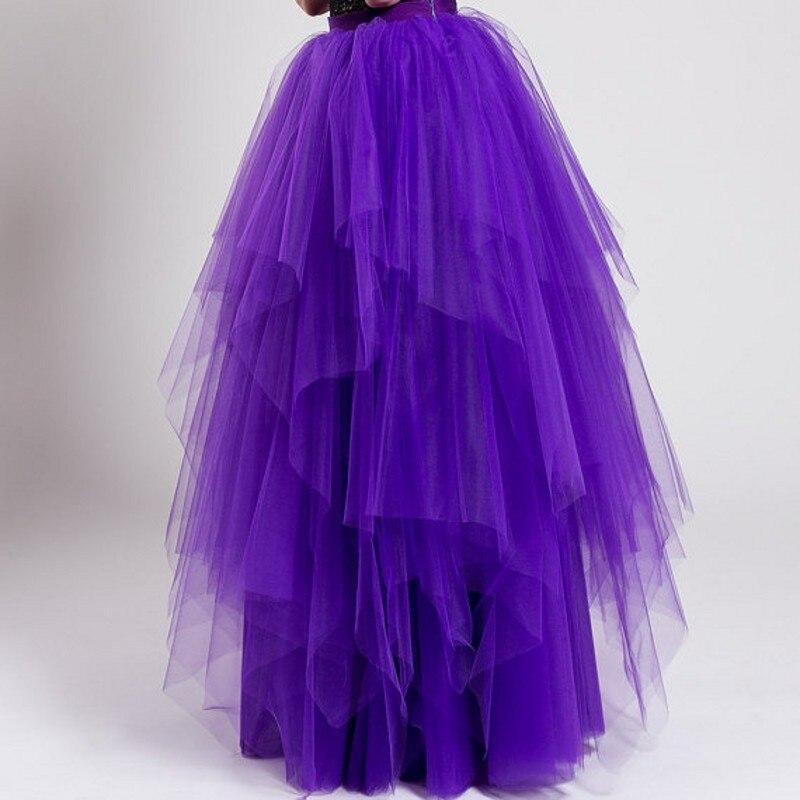 Clásica Tiered Maxi Piso Puffy Por Falda Tutu Tulle Encargo Faldas Línea Una Ruffles Mujeres Longitud Purple q4qaEXw
