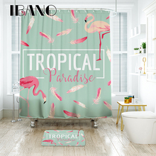 Фотография IBANO TROPICAL Flamingo Shower Curtain Waterproof Polyester Fabric Bath Curtain For The Bathroom With 12PCS Plastic Hooks Mat