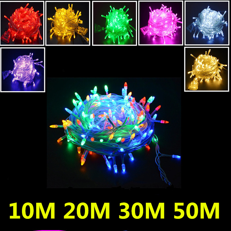Waterproof led fairy lights for interior lighting LED patio string lights for wedding party birthday decorations 10m 20m 30m 50m window curtain led string white lights 3m x3m for xmas wedding party decor 220v eu plug party decorations 304 led