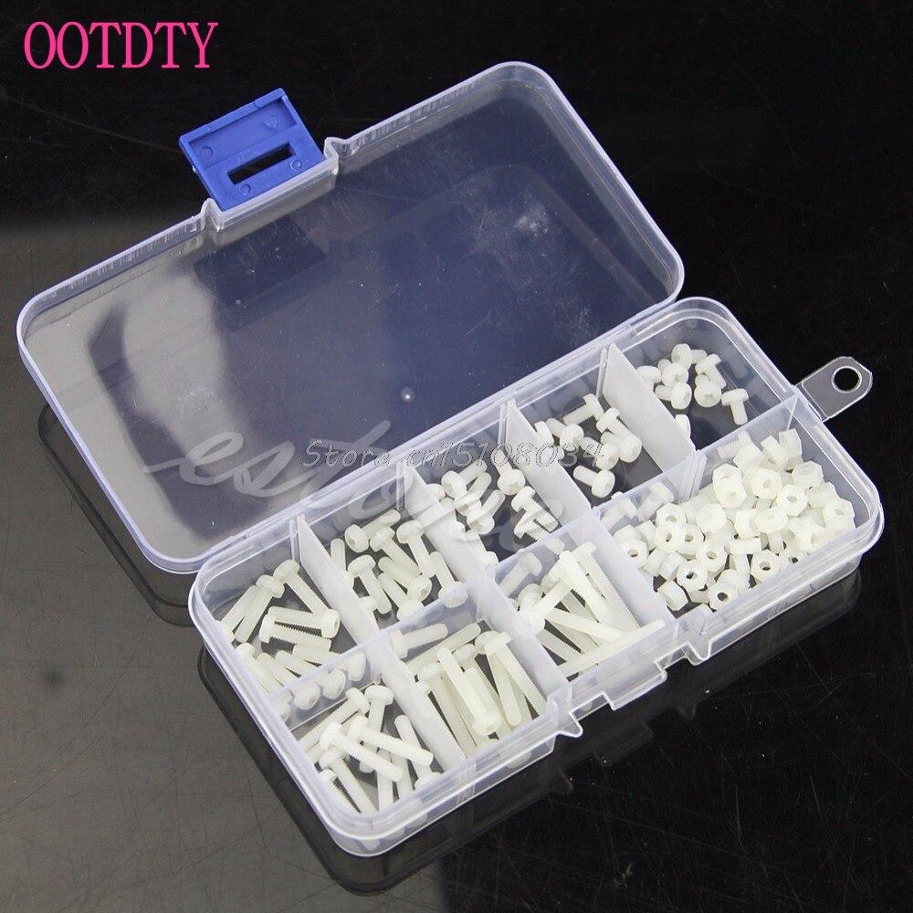 160Pcs White Metric M3 8 Sizes Assortment Stand-off Nylon Screws Bolt & Nuts Kit S08 Wholesale&DropShip