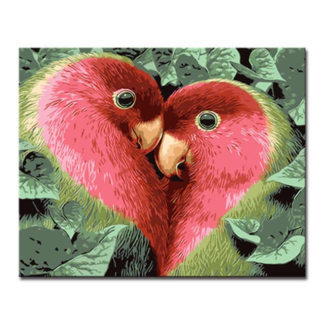 Diy Handpainted Red Love Birds Pictures Oil Painting By Numbers Kits