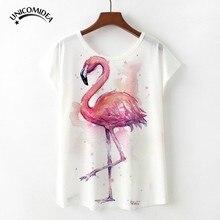 bd8387d9 2018 New Hot Kawaii Female White Tops Tee Flamingo Plus Size T Shirt Mujer  Girls 3D Printed Causal Fashion Trend Women T shirt