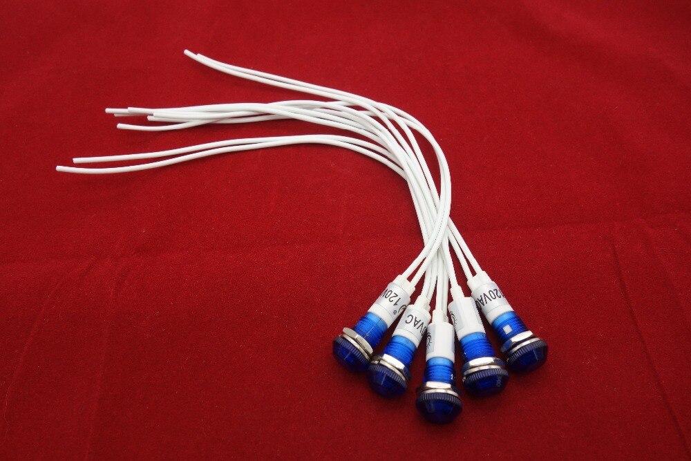 Лот из 5 шт. 9 мм синяя панель для монтажа LED 120 В AC/DC индикация сигнальные пилотные огни