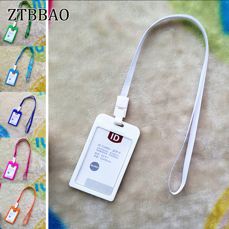 Hot Name Credit Card Holders Women Men Bank Card Neck Strap Card Bus ID Holders Candy Colors Identity Badge With Lanyard стоимость