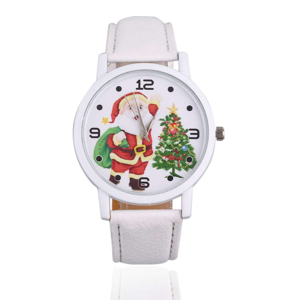 GENBOLI Creative Young Men Women Santa Claus Pattern Dial Solid Color PU Leather Strap Wrist Watches Meaning Best Gifts Relogio