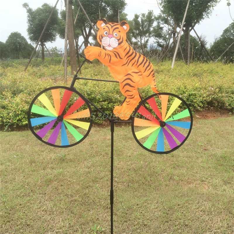 Cute 3D Animal on Bike Windmill Wind Spinner Whirligig Garden Lawn Yard Decor#T025#