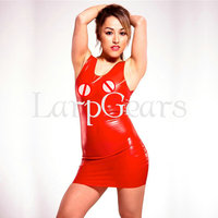 Red Latex Mini Dress Sexy Lingerie Rubber Fun Fancy Dress