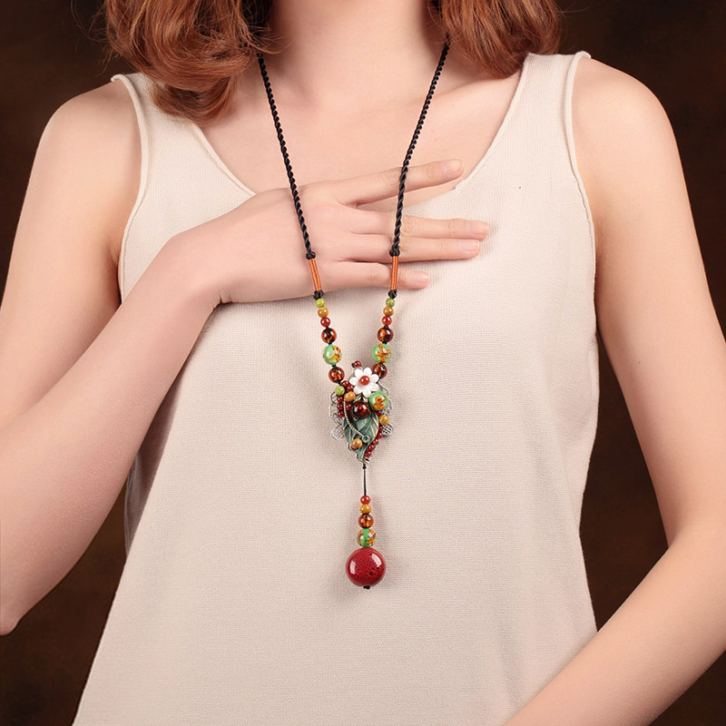 Vintage ceramics simple Long section necklace gift national trend chain female design handmade Jewelry accessories