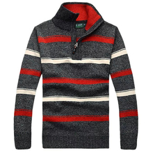 The New Fall Winter Jeep / Jeep Men thick striped sweater pullover sweater large size men's casual Slim M-3XL