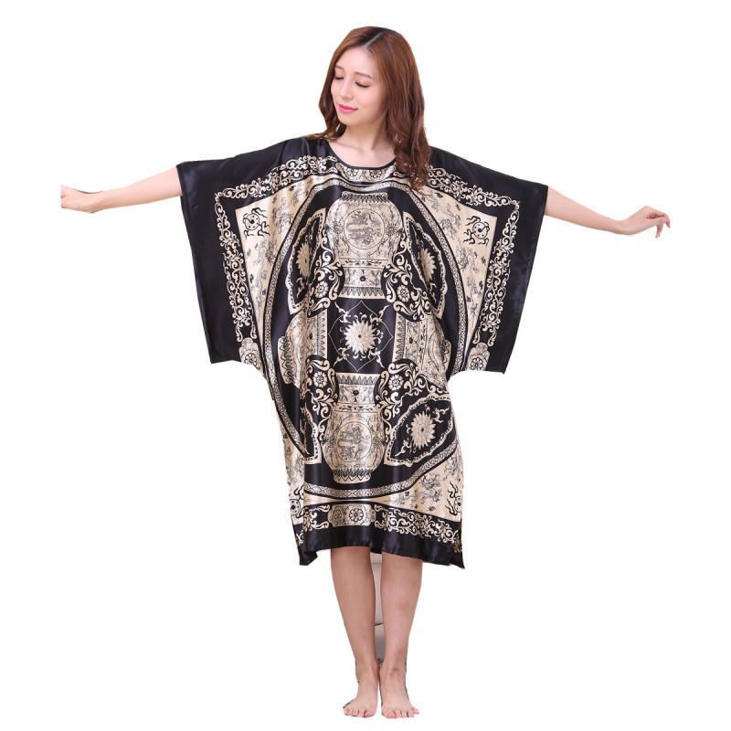 Women Nightgowns Loose Sexy Thin Section Half Sleeved -5051
