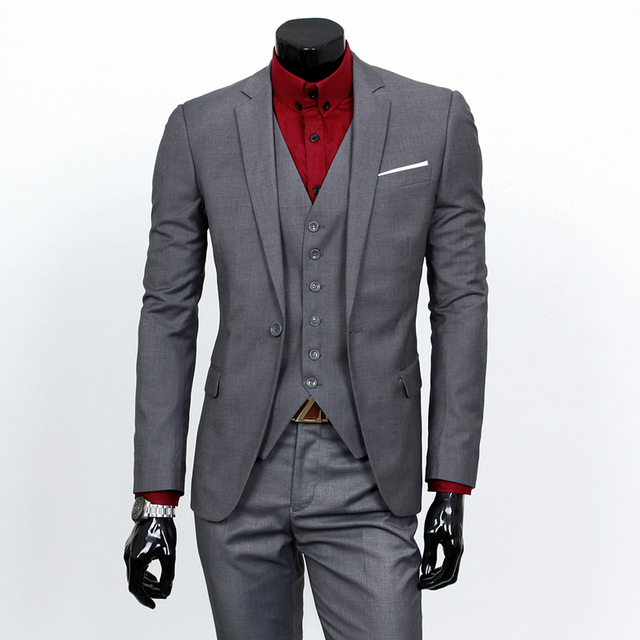 3 Pieces Sets Blazers Jacket Pants Vest Suits / Boutique Men's Casual Business Wedding Groom Suit Coat Trousers Waistcoat 2