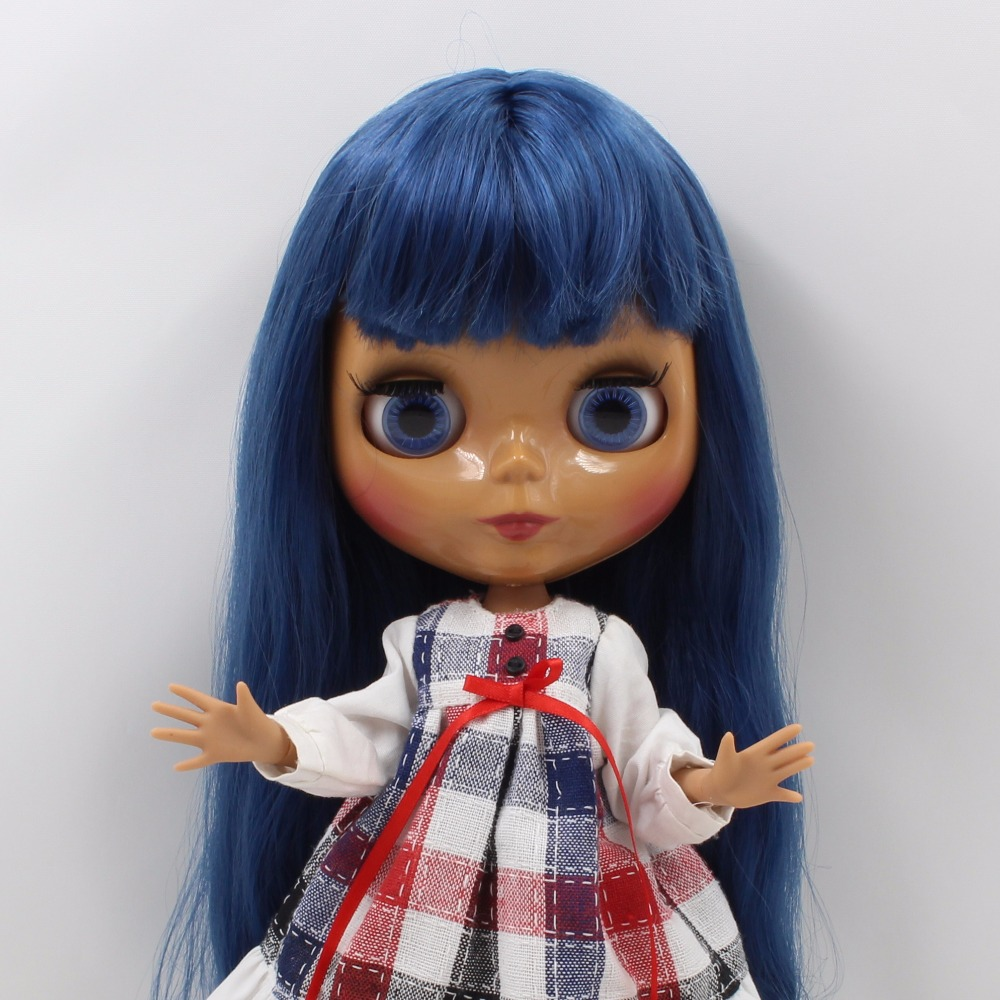 Neo Blythe Doll with Blue Hair, Dark Skin, Shiny Face & Jointed Body 2
