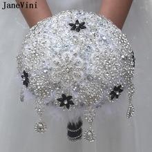 JaneVini Luxury White Rhinestones Bridal Bouquets Wedding Flowers Artificial Satin Roses Sparkly Wedding Bouquets Fleur Mariage
