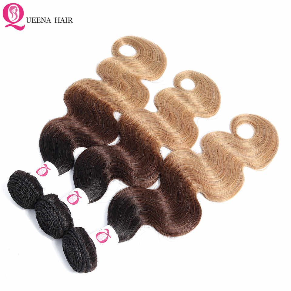 Body Wave 1B/4/27 Ombre Bundles With Frontal Closure Remy Raw Indian Human Hair 13*4 Lace Frontal With Bundles Natural Hairline