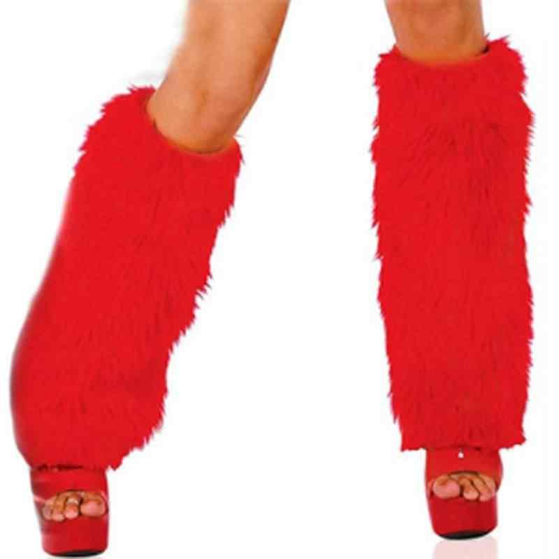Зимние пушистые искусственной меховые ножки гетры леди загрузки крышка Рождество стиль Санта Клаус Костюм интимные аксессуары