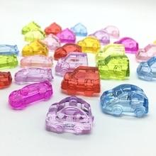 Акриловая прозрачная красочная игрушка бусины в виде автомобилей для детей, играющих, рамка отсутствует отверстие украсить малыш коробка спортивный автомобиль Популярные 4 шт./пакет