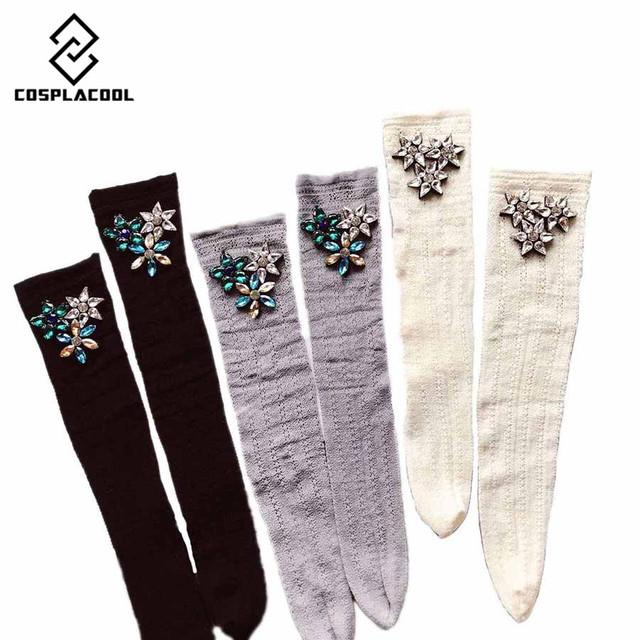 Women's and Girls Diamond Gem Floral Lace Heap Leg Socks