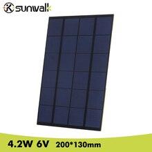 SUNWALK Polystalline 4.2W 6V Mini Solar Cell Panel PET Solar Panel Module Solar System for Test and Education 200*130mm