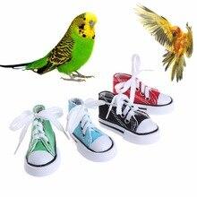 Птичьи игрушки Мини парусиновая обувь Жевательная укуса украшения подвесная клетка забавное гнездо для попугая игрушка ремесло принадлежности для птиц C42