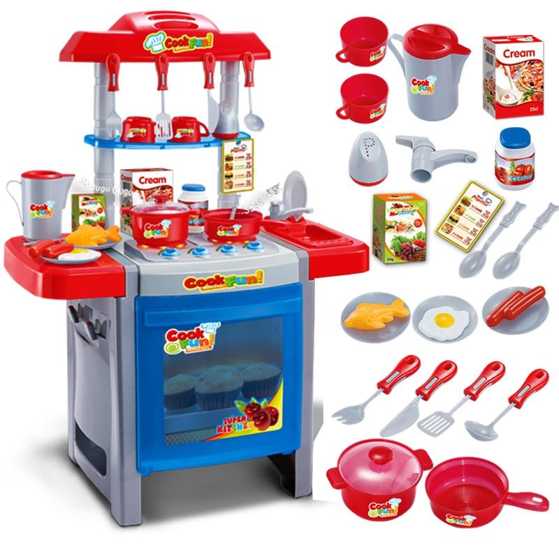 Новое Поступление 6663F Детей Большая Кухня Игрушечный Домик Моделирование Мальчик в Девочке Кулинария Кук Ребенок Посуда Кухня Для образования Детей