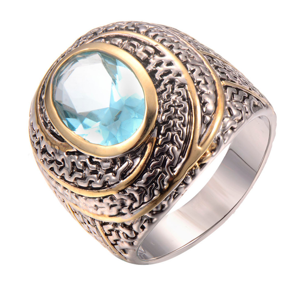 Simulated Aquamarine 925 Sterling Silver Ring Fashion Ring Size 6 7 8 9 10 F1244