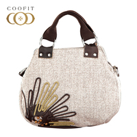 Coofit Weave Design Handbag Women's Casual Ethnic Style Satchel Tote Bag Quality Flax Crossbody Messenger Bags Female Tote Purse