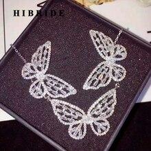HIBRIDE Lüks Moda Kelebek Takı Setleri Kadınlar Için Kolye Küpe Kolye Takı Aksesuarları N 753