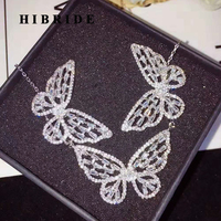 HIBRIDE Luxury Fashion Butterfly Jewelry Sets For Women Necklace Earring Pendant Jewelry Accessories N 753