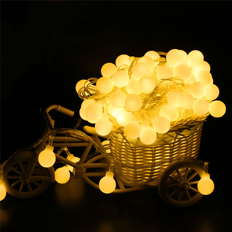 2M/4M/10M 80Led Cherry Balls Fairy String Decorative Lights Battery Operated Wedding Christmas Outdoor Patio Garland Decoration ...