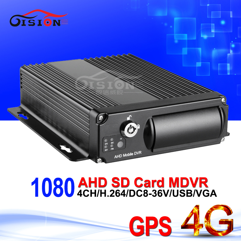 Gision 4G GPS 1080 AHD Mobile Dvr H 264 Real Time Monitoring 4CH Car Video Recording