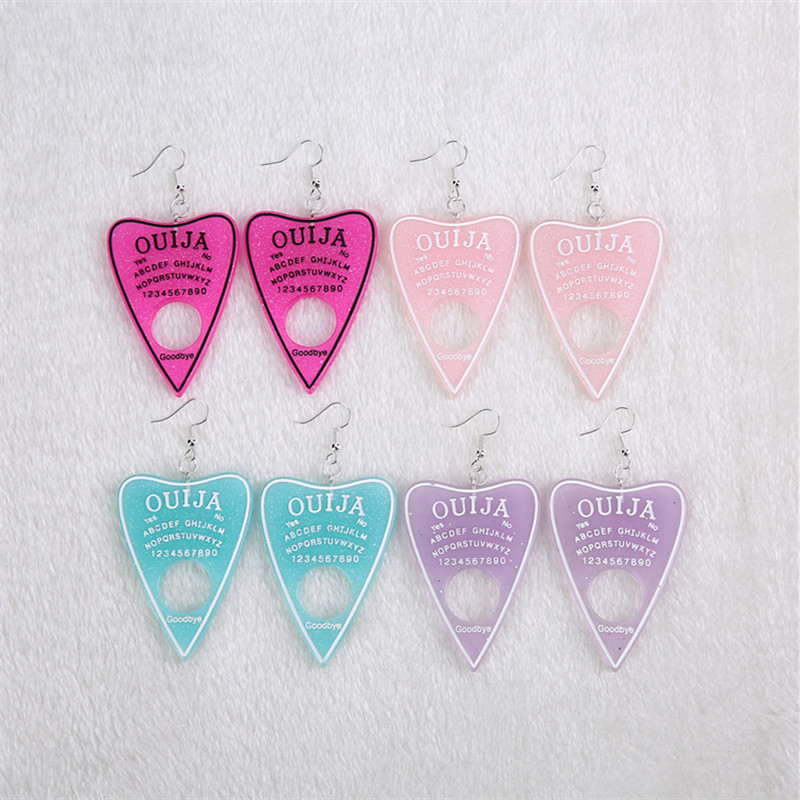 1pair Women Drop Earrings Multicolor Resin Ouija planchette Charms Resin earring for Birthday Gift Children Woman Jewelry
